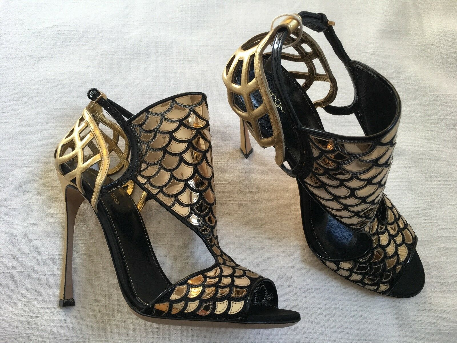SERGIO ROSSI gold AND BLACK HIGH HEELED SANDALS SIZE 39 UK 6 BRAND NEW