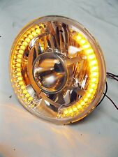 "Street Hot Rod 7"" Projector Glass Headlights w/ Amber Halo LED Turn Signals PAIR"