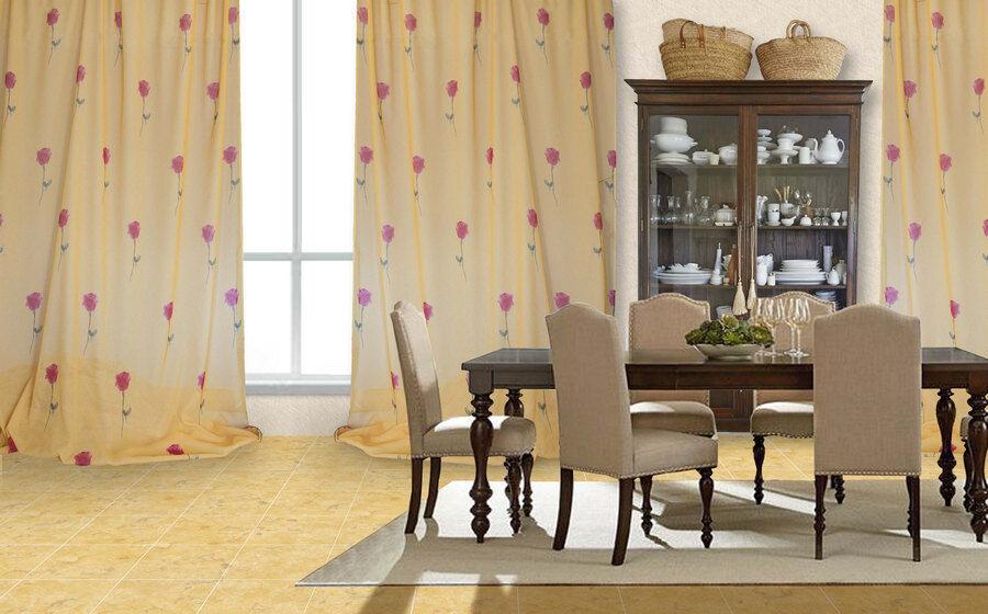 Rideau Brezzolina Gelb Gelb Gelb avec fleurs (col.2) 9dd329