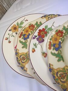 4-Vintage-Mismatched-China-Luncheon-Plates-Burnt-Orange-Colorful-154