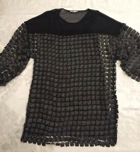 bas prix 67bd9 84add Details about Zara Oversize Blouson Tunic Dress Black Silver Metallic Vezel  Sheer Party Size S