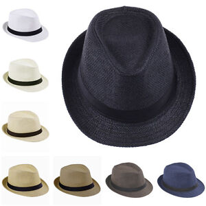 a3bd0b8cfd585 Details about Men Women Boys Girls Kids Children Fedora Cap Trilby Hats  Sunhat Straw Sunbonnet