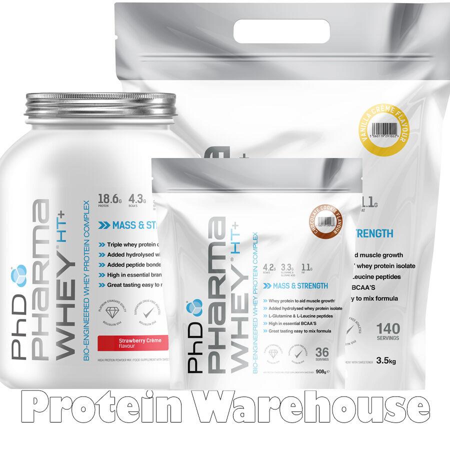 PhD Nutrition Pharma Whey HT Protein 50g 50g Protein 908g 2.25kg 3.5kg 4.54kg Fast Free P&P 14d5d7