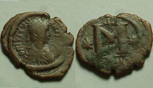Rare genuine ancient Byzantine coin Justinian follis Constantinople Cross STARS