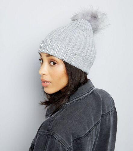 womens hat New Look Women/'s Grey Diamanté Trim Bobble Hat One Size