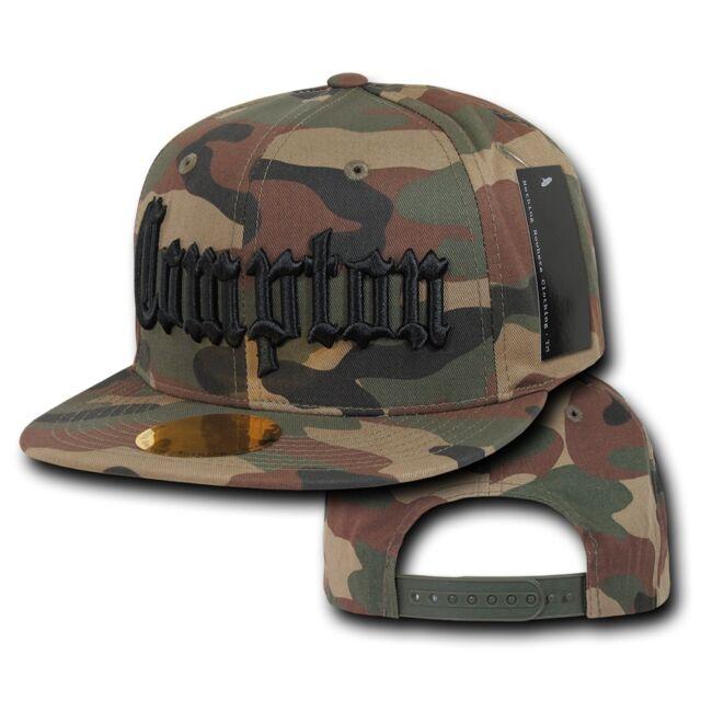 Camo Compton Vintage Embroidered Hip Hop Flat Bill Snapback Snap Back Cap Hat