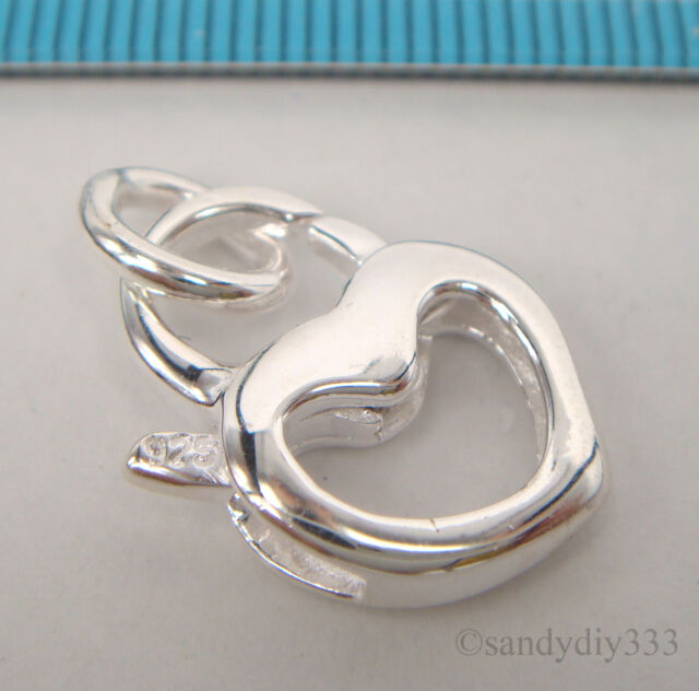 1x BRIGHT STERLING SILVER HEART LOBSTER CLASP BEAD 13.4mm x 18.4mm  #2187