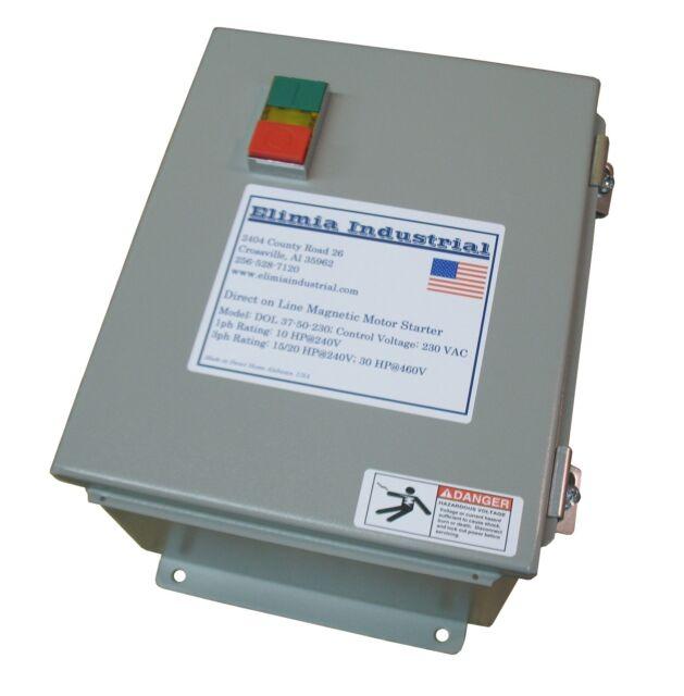 Elimia Reversing Magnetic Motor Starter 48-65A 120V IP65 Sealed Steel Enclosure