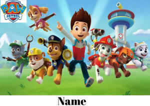 personalised paw patrol place dinner mat childrens A4 laminated gift skye
