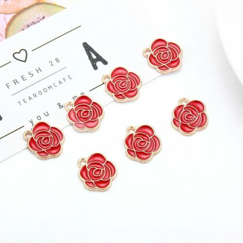 10pcs Enamel Rose Flower Charm Pendants Gold Beads DIY Necklace Bracelet Jewelry