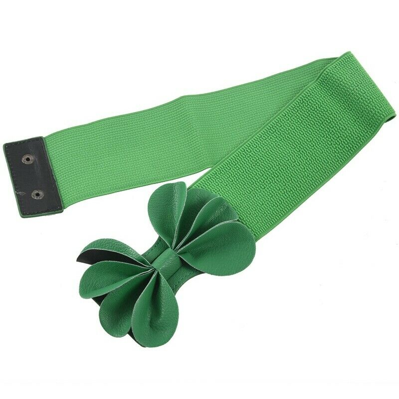 Green Faux Leather Flower 7.5cm Wide Elastic Cinch Belt for Woman M1I2