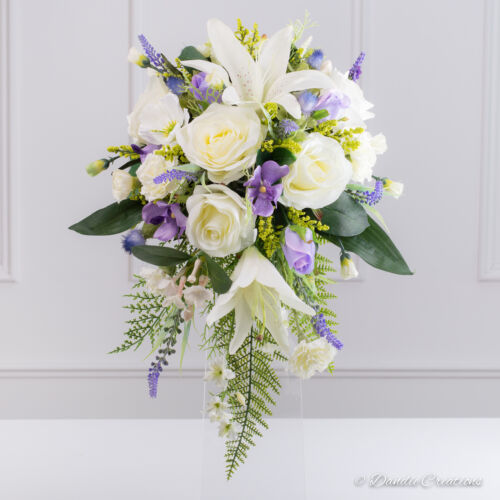 Mixed County style bouquet Silk Bridal Shower Bouquet in Ivory /& Lilac Wedding