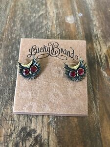 Details About Lucky Brand Owl Stud Earrings Red Eyes