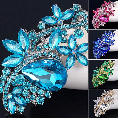 EG/_ New Fashion Waterdrop Flower Rhinestone Crystal Brooches Pin Bouquet Wedding