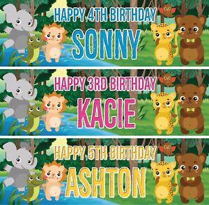 2-x-Banner-Personalizzato-Compleanno-Bambini-Animale-Giungla-Bambini-Festa-POSTER