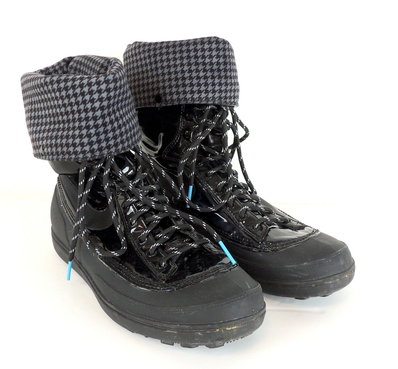 Nike Storm Warrior Hi 407482-003 Black Patent Houndstooth Lined Boot Women US 7
