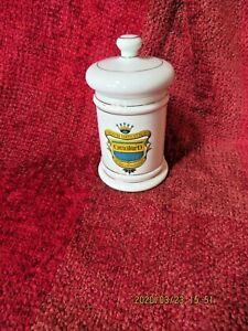 Vintage Coricidin D  Apothecary medicine jar 6'' Gold trim. Japan