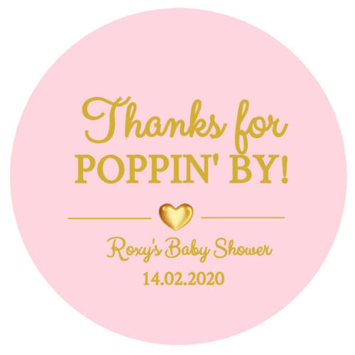 24 x BABY SHOWER PERSONALISED ROUND STICKERS LABELS READY TO POP PARTY FAVORS D3