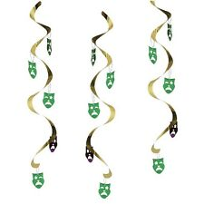 5 MARDI GRAS DIZZY DANGLERS HANGING SWIRLS PARTY DECORATIONS MASKS MASQUERADE