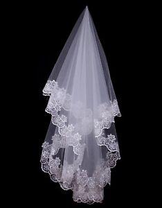 1T-White-Ivory-Elbow-Wedding-Bridal-Veil-w-o-Comb-Lace-Edge-Wedding-Accessories