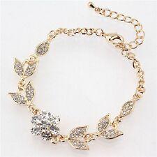 Hot fashion Golden Leaf Crystal Bracelet for girl women