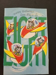 Vtg Rust Craft Birthday Greeting Card Kittens Fly Rocket Space Ships 8 yr old