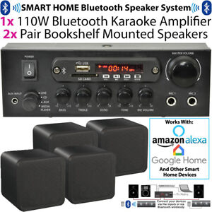Bedroom Bluetooth Music System 4x Black Speakers /& 110W Amp Background Audio