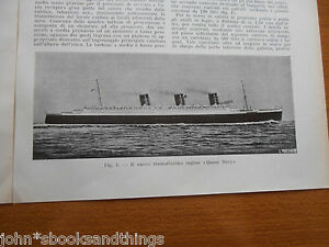 1934 IL NUOVO TRANSATLANTICO INGLESE QUEEN MARY NAVE CUNARD WHITE STAR LINE NEW