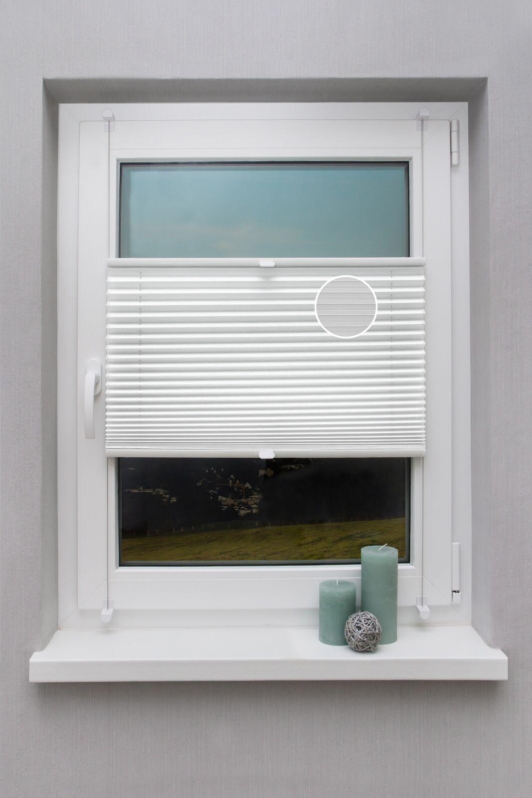 PREISHIT Thermo Plissee auf Maß Klemmfix Weiß ohne Bohren Klemmträger  | Großhandel