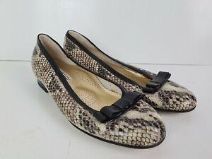 VALLEVERDE Italian Designer Snakeskin Leather Ballet Flat Shoe Women's Size EU39
