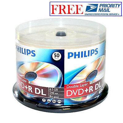 50 PHILIPS Logo 8X DVD+R DL Dual Double Layer Disc Storage Media 8.5GB Cake Box