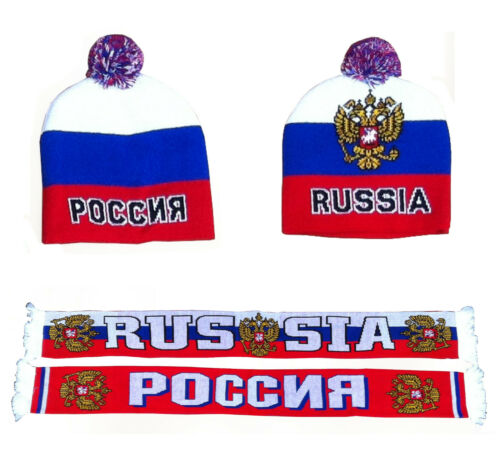 RUßLAND RUSSIA FANSCHAL FAN SCHAL kyrillische Schriftzeichen RUßLAND MÜTZE