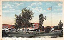 C15/ Winter Haven Florida Fl Postcard c1910 Park Scene Business Section Stores