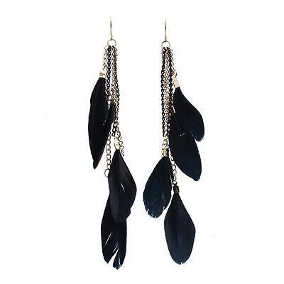 1 Pair Women Hook Tassel Long Dangle Earrings Multilayer Black Feather Elegant