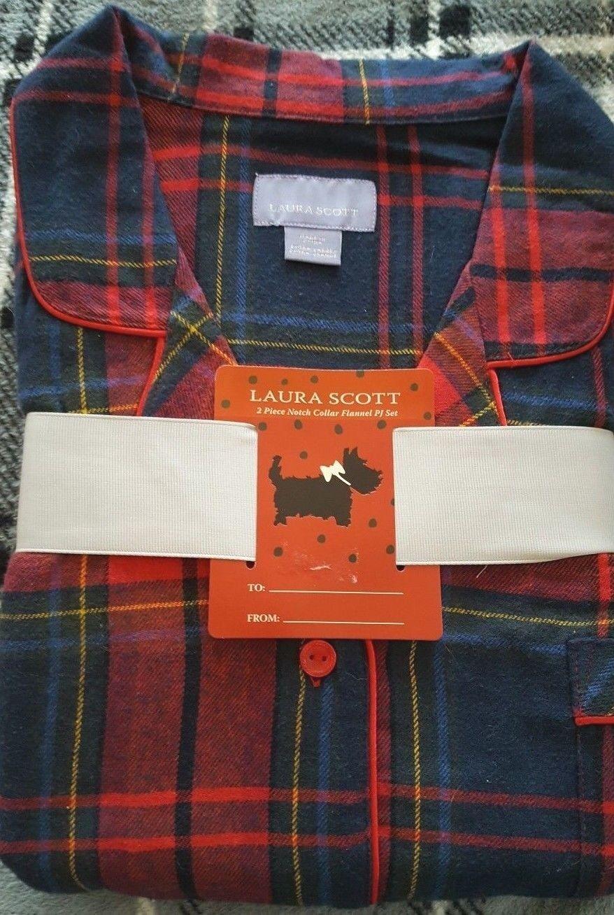 Laura Scott Ladies Flannel Pajamas Navy bluee & Red Plaid - Size XL - NWT
