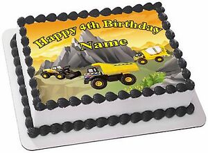 Groovy Construction Trucks Real Edible Icing Cake Topper Birthday Cards Printable Benkemecafe Filternl