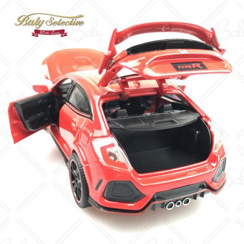 1:32 Honda Civic Type R Red Label Diecast Carro Modelo Portas gência Luz /& Som