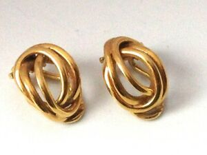 9ct 375 Gold Vintage Weave Clip-on Earrings- 1970s