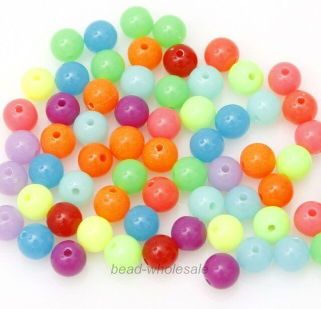 100 Pcs Mixed Acrylic Plastic DIY Finding Round Ball Loose Spacer Beads 8mm