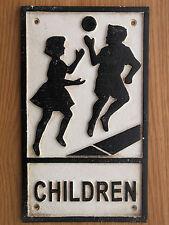 Black & White  Cast Iron / Metal  CHILDREN Sign not enamel, Price REDUCTION !!!!