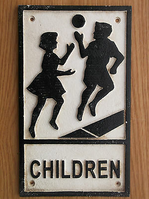 Black & White  Cast Iron / Metal  CHILDREN Sign not enamel