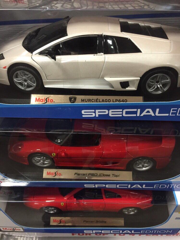 3 new Maisto 1 18 Scale Ferrari 348ts Ferrari f50 lamborghini lp640 murcielago