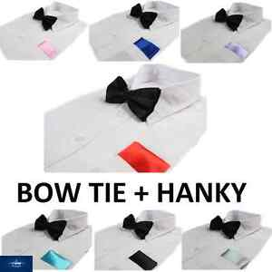 MENS-2-PCS-SET-BLACK-BOW-TIE-PLAIN-POCKET-SQUARE-HANKY-HANDKERCHIEF-WEDDING