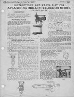 1948 Atlas Model 54 Drill Press Instructions And Parts List Instructions