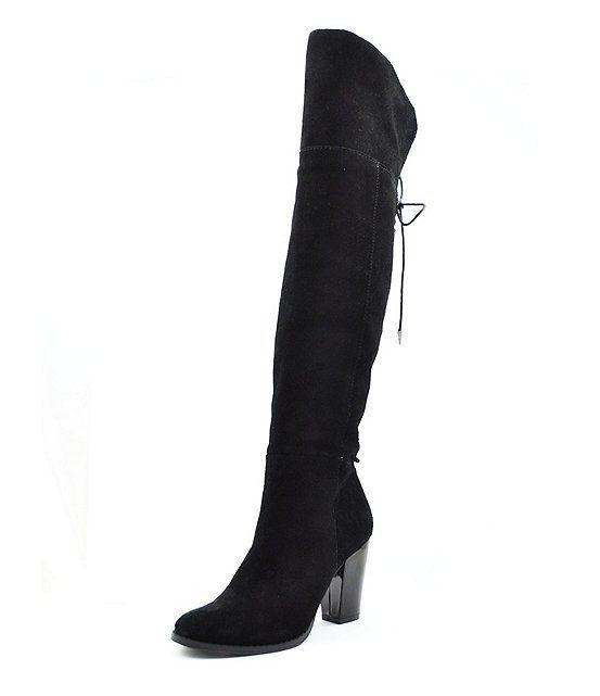 Reba Zeda Negro de cuero de gamuza rodilla altas sobre la rodilla botas talla 9.0 M