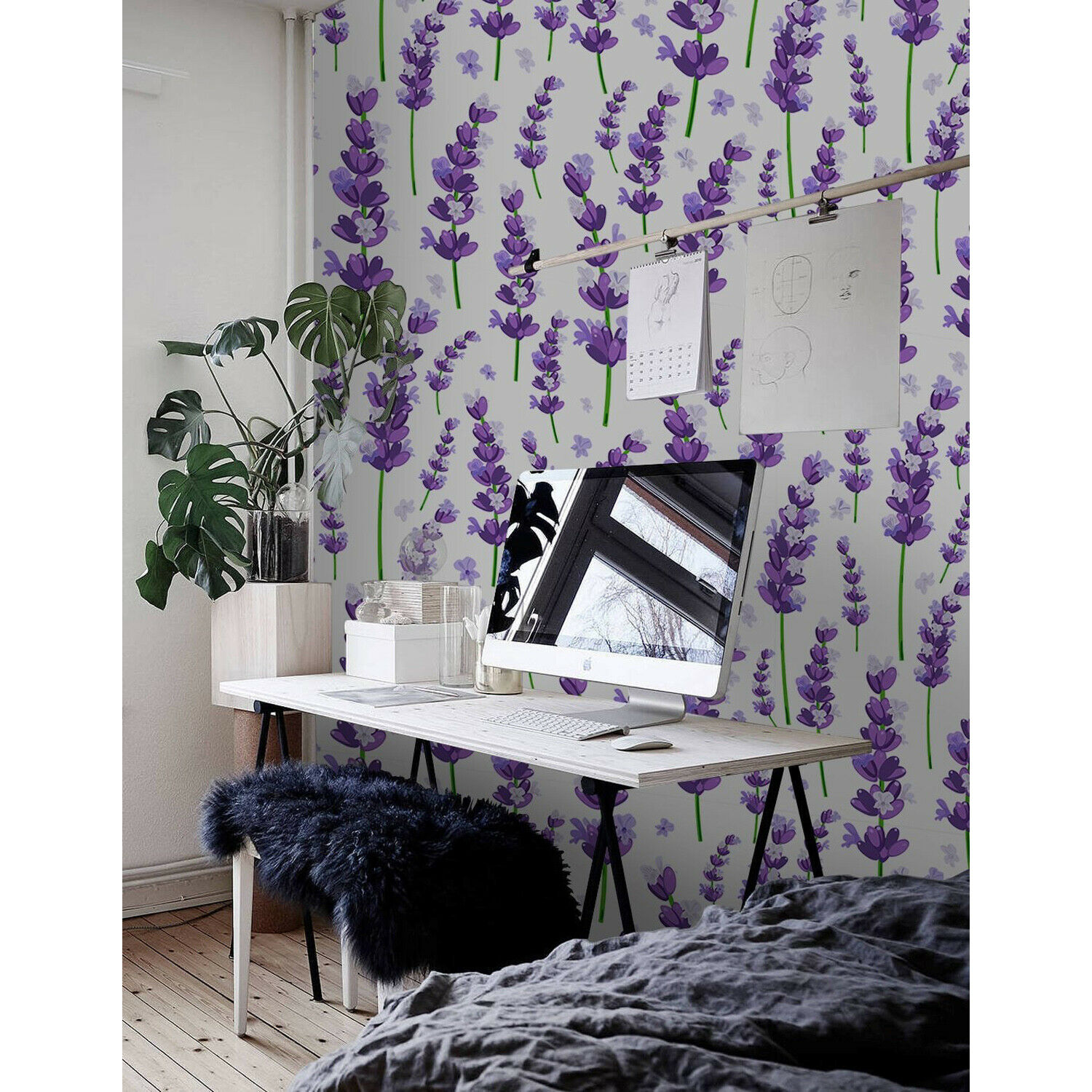 Provence lila lavender flowers  lila and Grün wall mural photo wallpaper