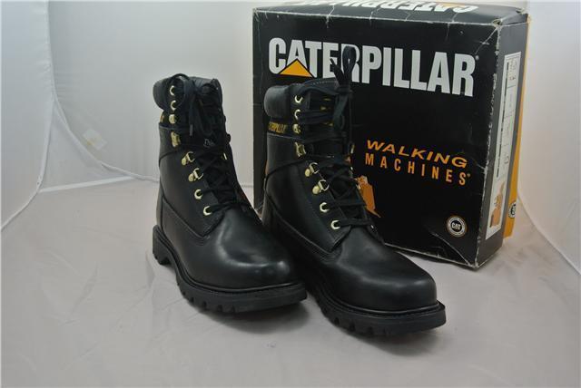 Gli stivali Caterpillar Taglia 7 UK SCARPE GATTO track lavoro neri in pelle track GATTO Digger dcddc9