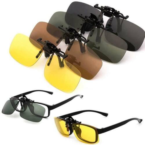 Unisex Sunglasses Clip on Flip Up Polarized Frameless Anti Glare UV400 Lens UK