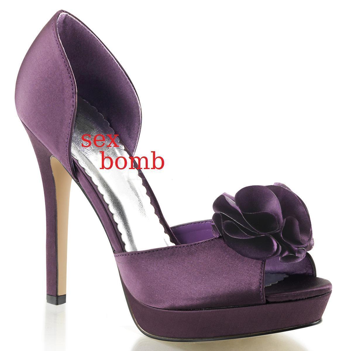 SEXY scarpe decolte raso spuntate TACCO    TACCO 12 dal 35 al 41 VIOLA ... 76f1e4