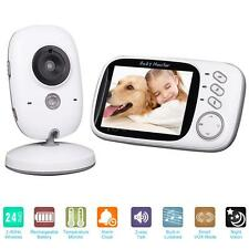 """Wireless 3.2"""" Video Audio Baby Monitor + Thermometer Night Vision Camera EU V8D5"""